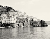 Amalfi Photography - Black and White Italy Photography - Amalfi Coast Pictures - Seaside Mediterranean Decor Print Italian Wall Art Water