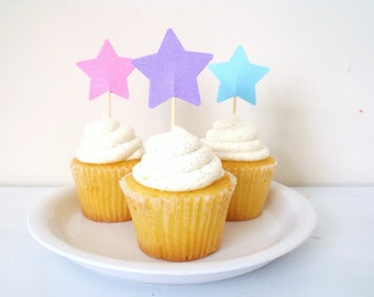 Cupcake Toppers- Birthday Party Decorations- Sparkly Stars in Pastel Pink, Purple, and Blue One Dozen MADE TO ORDER