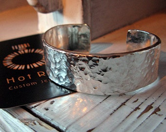 Pure Silver Hammered Cuff Bracelet