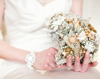 Crystal Teardrop Brooch Bouquet - Custom Large Bling Crystal and Marcasite - Shiny Silver Metallic Bling Bouqet - Alternative Bouquet