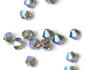 Swarovski Crystal Beads Black Diamond AB 2X Bicones 4mm (24)