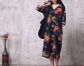 Casual Loose Fitting Oversized Cotton and Linen  Long Dress Blouse- Women Maxi dress - maternity dress