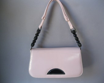 80s Pink Cross Body Handbag - Shoulder Bag Black Bead Detail