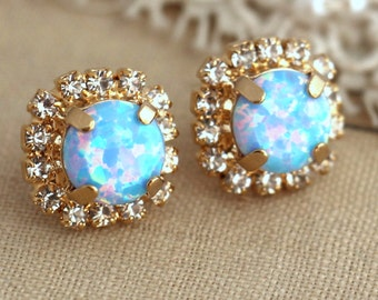Opal Blue earrings,Sky Blue Opal Stud earrings, Crystal Swarovski stud earrings, Opal Crystal studs, Gift for her,  Opal jewelry, Opal Studs