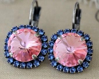 Sapphire Rose Drop earrings, Blue Navy Pink Swarovski dangle earrings, Bridesmaids earrings, gift for woman, Pink Blue Silver drop earring