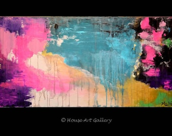 """LARGE Original Abstract Painting Modern Art Contemporary Acrylic Metallic Gold Leaf Textured Palette Knife Pink Purple Teal Blue - 48 x 24"""""""