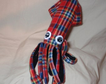 Made to Order Seamus McSquidlan the Red and Black Plaid Fleece Squid Stuffed Animal Plush