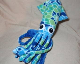 Made to Order Dahlia the Blue and Green Floral Fleece Squid Stuffed Plush Animal