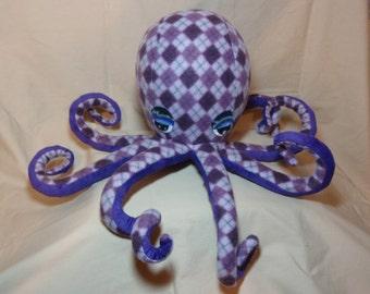 Alexa the Purple Argyle Fleece Plush Octopus - Stuffed Ocean Marine Sea Creature Animal