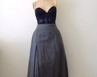 1970s Wool Skirt - charcoal grey a-line with inverted pleats - classic vintage