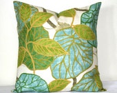 Lime Green and Turquoise Leaf Pillow, 18x18 inch Robert Allen Pillow, Floral Accent Pillow, Cushion Cover