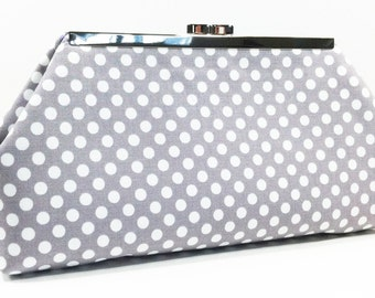 Clutch Purse - Grey White Small Polka Dot Wedding Clutch, Bridal Clutch