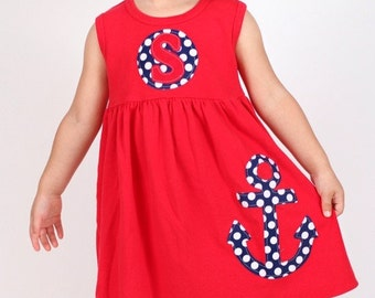 Toddler Summer Dress - Anchor Dress- Personalized Dress- You Choose Dress Color and Sleeve Length