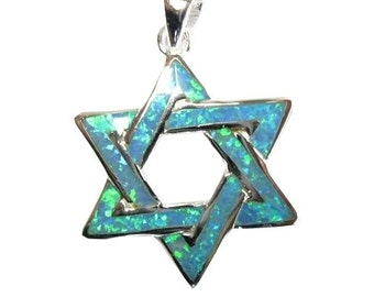 Blue Sterling Star Of David Pendant.
