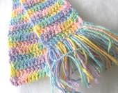 CLEARANCE Rainbow Pastel Colored Girl or Teen Scarf - Hand Crocheted with Fringe - Item 2012