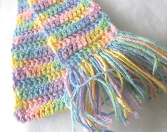 Rainbow Pastel Colored Girl or Teen Scarf - Hand Crocheted with Fringe - Item 2012