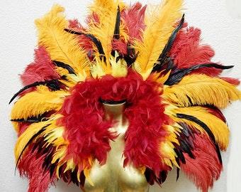"Runway Model Fire Phoenix  Feather Collar Exotic Brazilian Showgirl 47X36""  Samba Dance Costume"