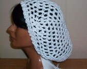 White Snood, Crochet Handmade, Cotton, Open Pattern, Draw String