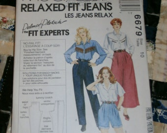 1993 McCall's Pattern 6679 for Misses Palmer Pletsch Relaxed Fit Jeans Size  10 Uncut