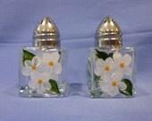 Hand Painted Mini Salt and Pepper Shakers White Daisies Hydrangeas Flowers