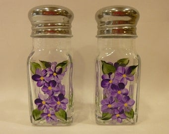 Hand Painted Salt and Pepper Shakers Purple Daisies Flowers