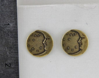 Moon and Stars Brass Ox Stud Earrings