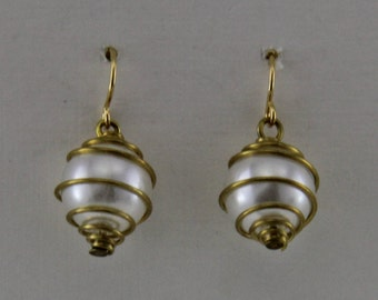 Brass wrapped Pearl Earrings  Dangle Earrings