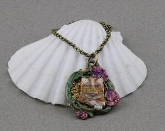 Handmade Cat In the Flower Garden Necklace