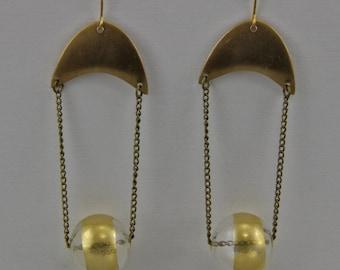 Handmade Crescent And Orb Dangle Earrings