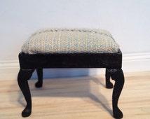 Wool plaid ebonized miniature ottoman -Dollhouse Size
