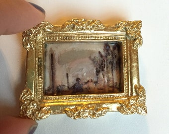 Sargent study copy - OOAK historical painting in gilt carved resin  Frame - Dollhouse Size