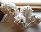 Pale Pink & Mint Green Bridal Bouquet, Bridesmaid Bouquet, Sola Flowers, Ivory Satin, Lace and Pearls. Made to order.
