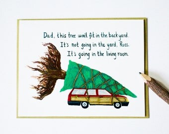 National Lampoon s Christmas Va cation card  clark griswold car tree    National Lampoons Christmas Vacation Car