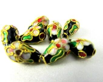 8 Black Cloisonne Teardrop Beads 6x12mm