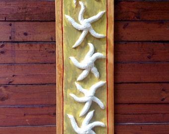 Starfish 3D painting yellow/cream Red Pin Stripe Frame wall art 5ft. reclaimed wood beach chic home decor original centerpiece
