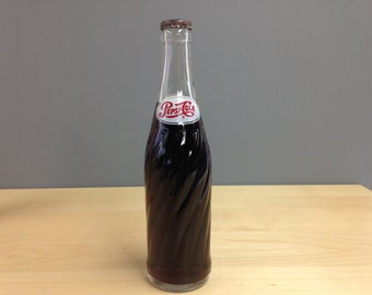 Vintage Pepsi Cola Bottle / 1960s Full Glass Bottle / Unopened