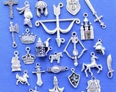 Deluxe Medieval Charm Collection Antique Silver Tone Medieval Theme 25 Charms - COL294