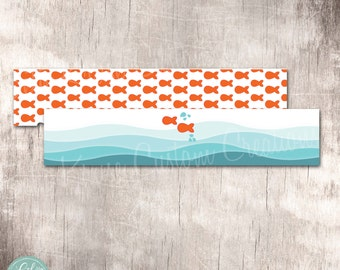 Goldfish Party Water Bottle Wraps Instant Download by Beth Kruse Custom Creations