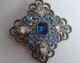 Vintage brooch, blue and clear crystal cross brooch,retro brooch, vintage jewelry