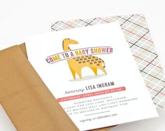 Giraffe Baby Shower Invitation, Zoo-themed Baby Shower Invite, Gender Neutral // GENTLE GIRAFFE