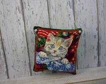 Tabby Kitten, Christmas decoration, rescue kitten, kitten Christmas hanging ornament, blue eyed kitten, silver tabby kitten, Assetcrafts,