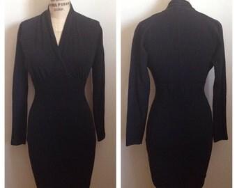 Vintage 1980s fitted black dress