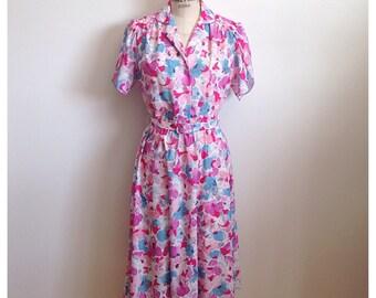 Vintage 1980s pink floral D'ALLAIRD'S dress