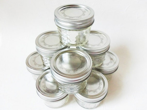 9 Kerr Quilted Crystal Jelly Canning Jars 4 Oz
