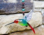 Red Headed Hummingbird Glass Art Sculpture, Window Suncatcher, Great Gift Idea, Adventurine and Red Obsidian Beading