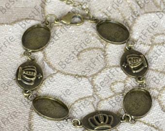 2pcs of Antique Brass Adjustable bracelet Base,Oval blank pad fit cabochon size 13x18mm,bangle findings