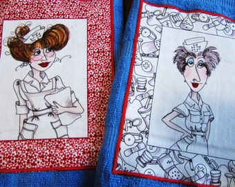 2 FUNNY NURSE TOWELS Loralie Nurses Fabric on Blue Cotton Terry Cloth Dish Towels