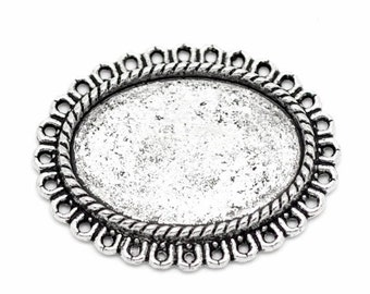 25x18 cabochon setting Antique Silver cameo Setting ( use horizontal or vertical )  799x