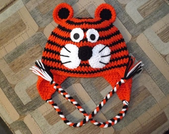 Tiger Cat Animal Crochet Earflap Hat with Ties for Baby Toddler Child Adult Great Photo Prop