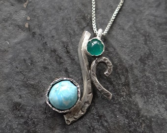 Sale! Blue Green Rare Mastrada Turquoise Green Onyx Sterling hand textured Curved pendant